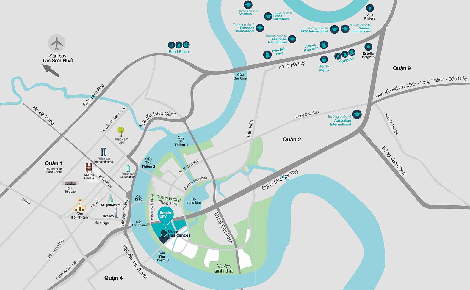 Vị trí dự án căn hộ Empire City Thủ Thiêm tại quận 2.
